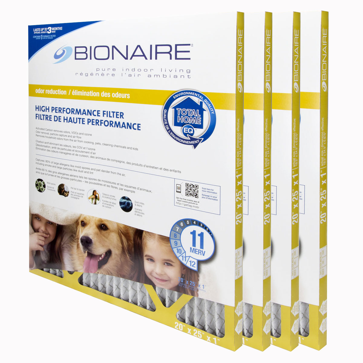 Bionaire® Odour Reduction MERV 11 Furnace Filter - 20x25 - 4 Pack